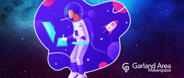 Makerspace graphic with astronaut